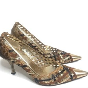Dolce & Gabanna Gold Pointy Toe Snakeskin Pumps